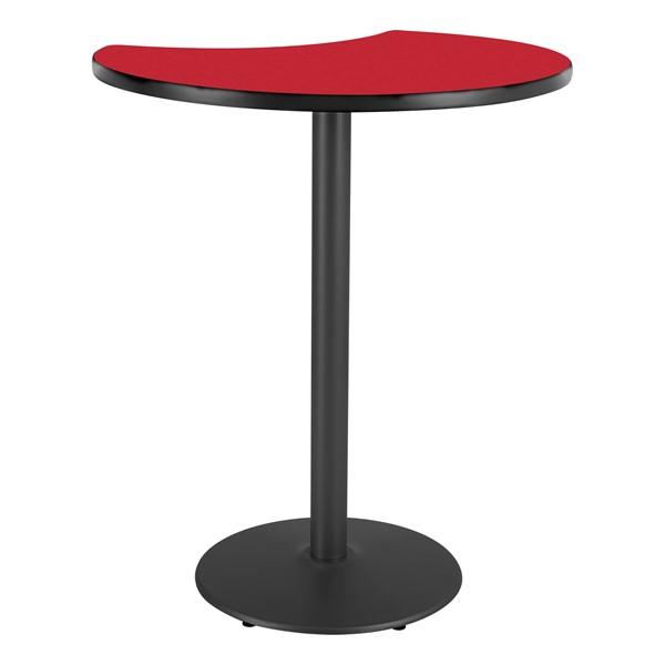 Crescent Pedestal Stool-Height Designer Café Table w/ Round Base - Regimental Red Table Top/Black Edgeband/Black Base
