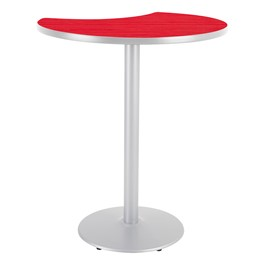 Crescent Pedestal Stool-Height Designer Café Table w/ Round Base - Hollyberry Table Top/Gray Edgeband/Silver Base