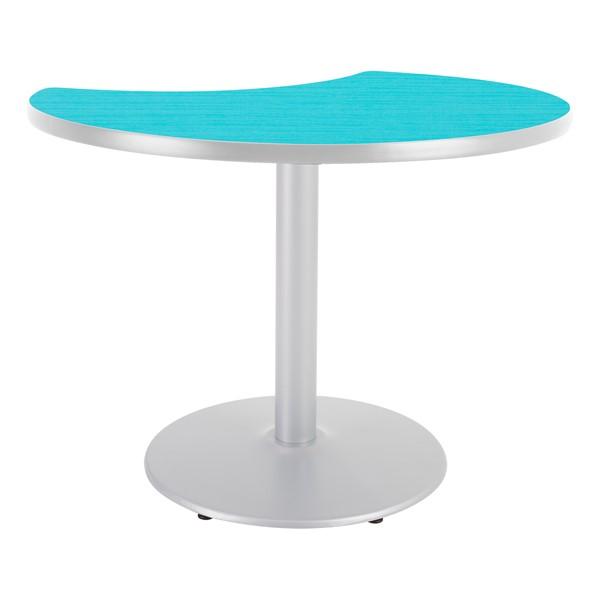 Crescent Pedestal Designer Café Table w/ Round Base - Ocean Table Top/Gray Edgeband/Silver Base