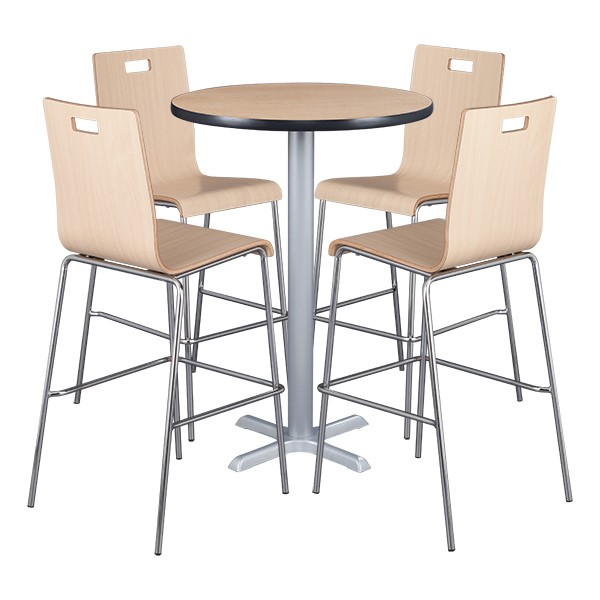 Round Pedestal Stool-Height Cafe Table and Bentwood Stack Cafe Stool Set
