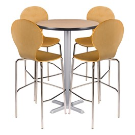 Round Pedestal Stool-Height Cafe Table and Natural Wood Cafe Stool Set