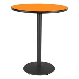 Round Pedestal Stool-Height Designer Café Table w/ Round Base - Orange Grove Table Top/Black Edgeband/Black Base