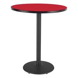 Round Pedestal Stool-Height Designer Café Table w/ Round Base - Regimental Red Table Top/Black Edgeband/Black Base