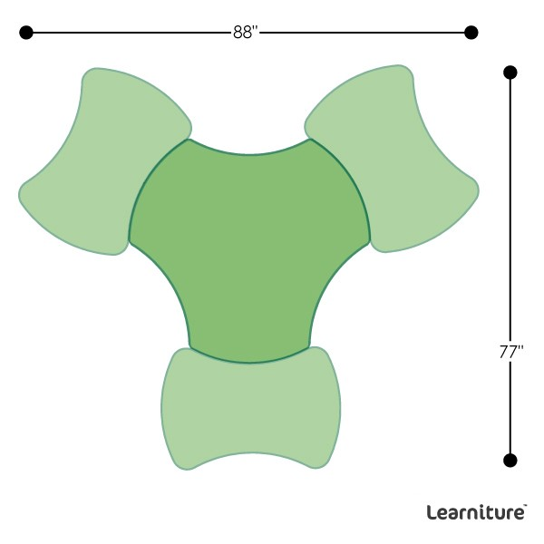 Learniture Structure Series Bow-Tie Mobile Collaborative Table w//Whiteboard Top