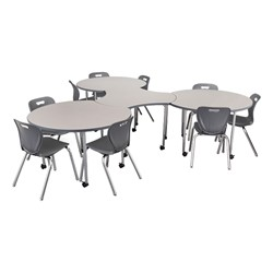 Structure Series Crescent & Cog Mobile Collaborative Table Set (Chairs not included)