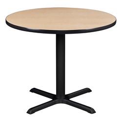 Round Pedestal Café Table and Natural Wood Café Chair Set - Table