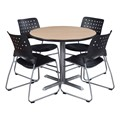 Round Pedestal Café Table and Ballard Stack Chair Set
