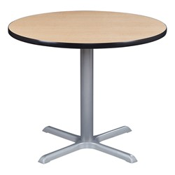 Round Pedestal Café Table and Wooden Café Chair Sett - Table - Natural oak