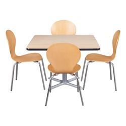 Square Pedestal Café Table and Natural Wood Café Chair Set