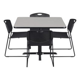 Square Pedestal Café  Table and Heavy-Duty Stack Chair Set