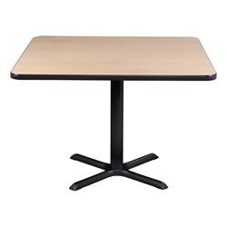 Square Pedestal Café Table and Natural Wood Café Chair Set - Table