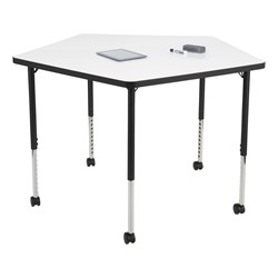 Structure Series Pentagon Mobile Collaborative Table w/ Whiteboard Top