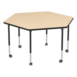 Structure Series Mobile Hex Collaborative Table w/ Thermofused Laminate Top - Maple Top & Black Edge