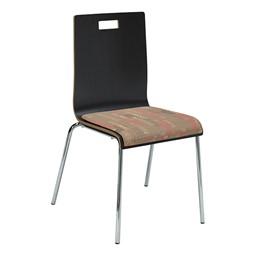 Café Chair w/ Upholstered Seat - Espresso Finish & Dark Latte Fabric