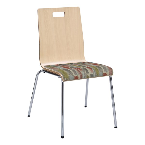 Café Chair w/ Upholstered Seat - Natural Finish & Confetti Fabric