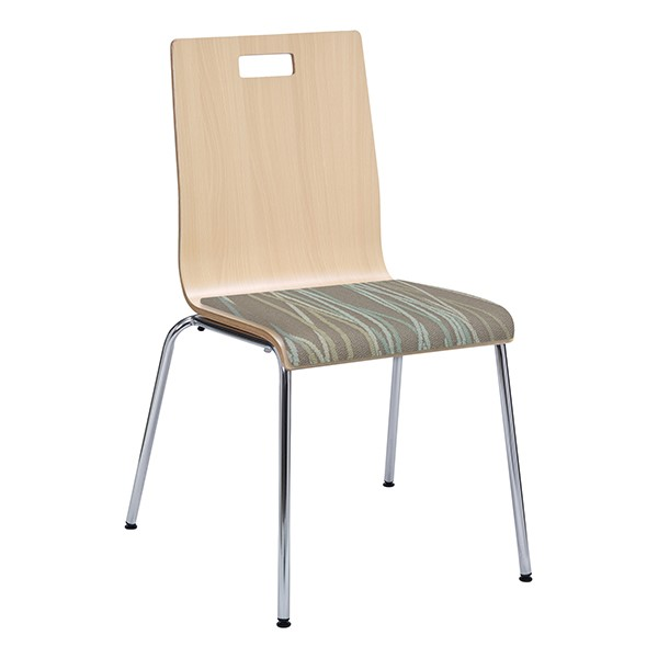 Café Chair w/ Upholstered Seat - Natural Finish & Pecan Fabric