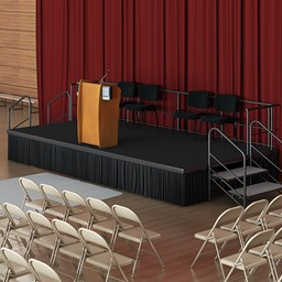 Single-Height Portable Stage & Seated Riser Section w/ Carpet Deck - Environment Shot