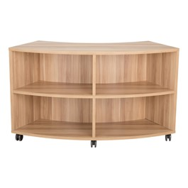 Shapes Series Curved Mobile Shelving (4 Openings) - Dark Natural