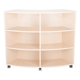 Shapes Series Curved Mobile Shelving (6 Openings) - Natural