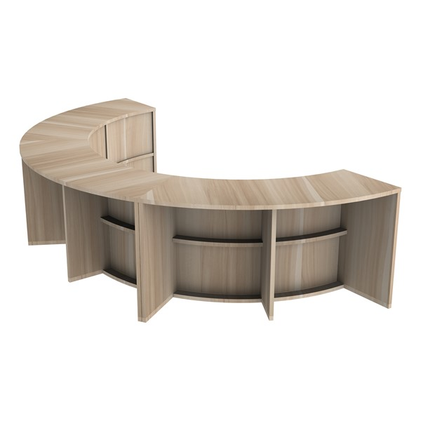 Three Shape Series Curved Media Tables forming a half circle