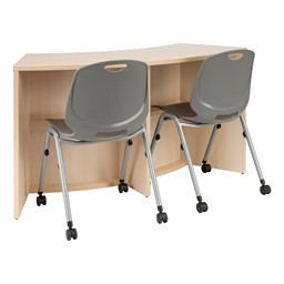 "Shapes Series Curved Media Table (30"" H) - Shown with Academic Mobile Chair (not included)"