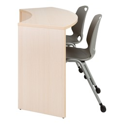 "Shapes Series Curved Media Table (30"" H) - Side View w/ Academic Mobile Chairs (not included)"
