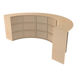 Three Shape Series Curved Media Tables forming a half circle, back angle