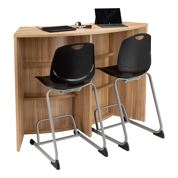 """Shapes Series Curved Media Table (42"""" H) - Shown w/ Academic Cantilever Stool (not included)"""