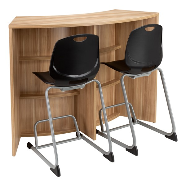 """Shapes Series Curved Media Table (42"""" H) - Shown w/ Academic Cantilever Chairs (not included)"""