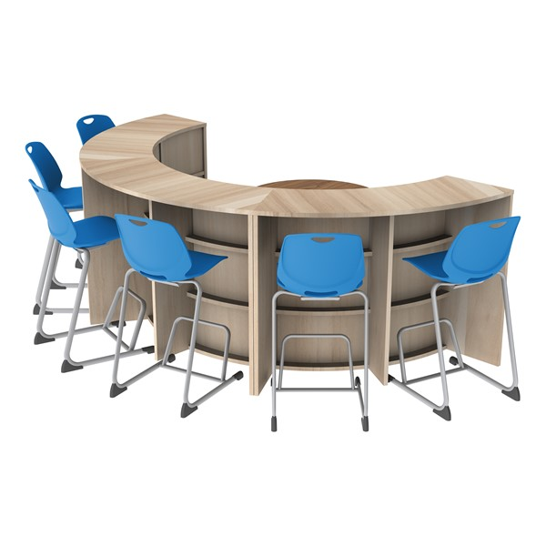 Three Shape Series Curved Media Tables forming a half circle with seating