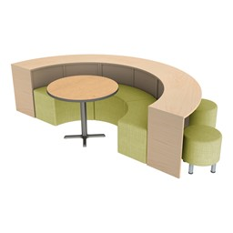 Three Shape Series Curved Media Tables forming a half circle with seating, back angle