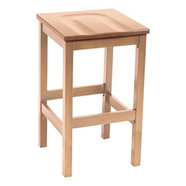 Café Wood Stool w/ Contoured Seat - Natural