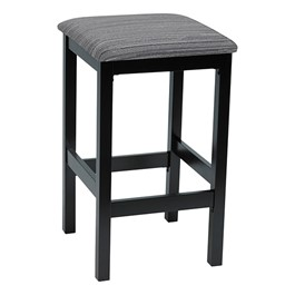 Café Wood Stool w/ Upholstered Seat - Black Finish & Pepper Fabric