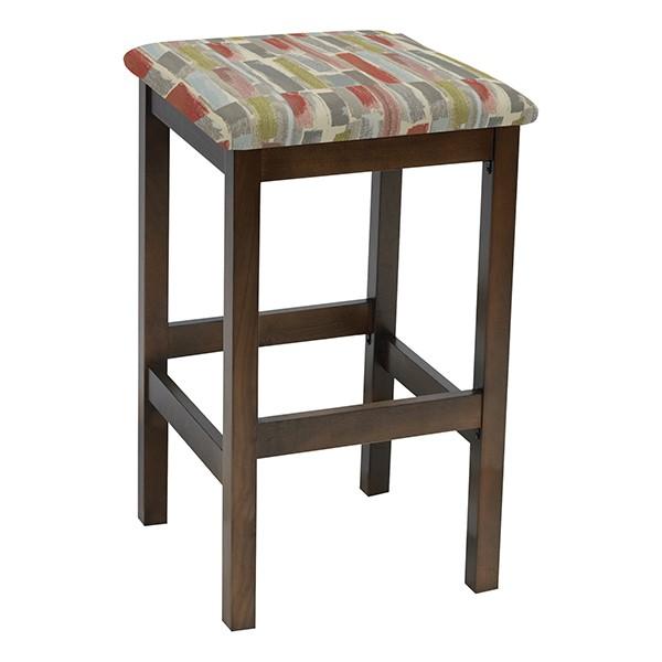 Café Wood Stool w/ Upholstered Seat - Walnut Finish & Confetti Fabric