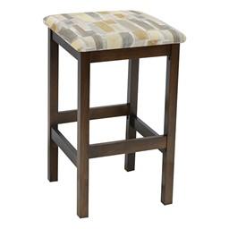Café Wood Stool w/ Upholstered Seat - Walnut Finish & Desert Fabric
