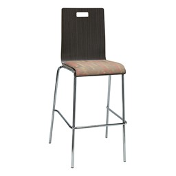 Bentwood Stool w/ Upholstered Seat - Espresso Finish & Dark Latte Fabric