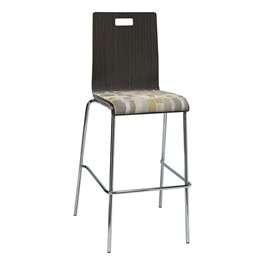 Bentwood Stool w/ Upholstered Seat - Espresso Finish & Desert Fabric