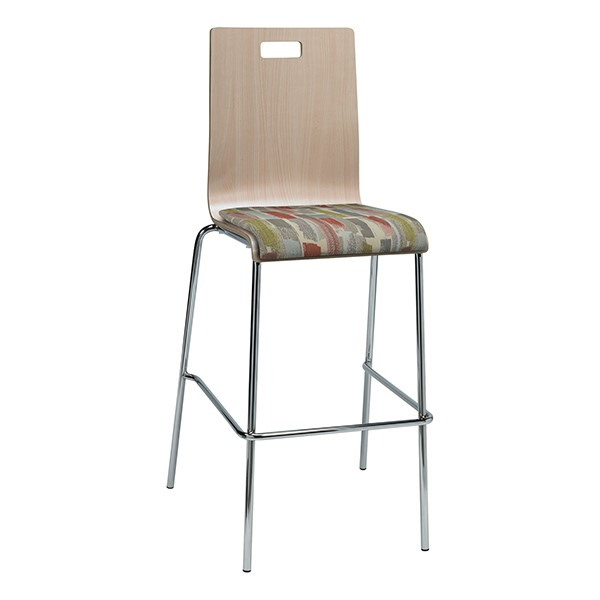 Bentwood Stool w/ Upholstered Seat - Natural Finish & Confetti Fabric
