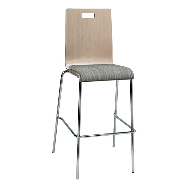 Bentwood Stool w/ Upholstered Seat - Natural Finish & Pecan Fabric