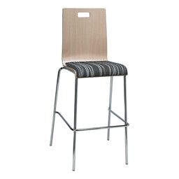Bentwood Stool w/ Upholstered Seat - Natural Finish & Peppercorn Fabric