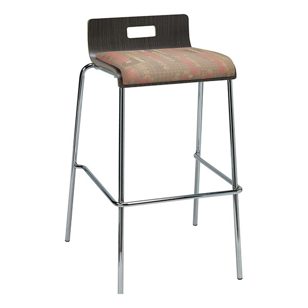 Bentwood Stool w/ Low Back & Upholstered Seat - Espresso Finish & Dark Latte Fabric