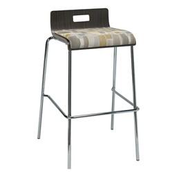 Bentwood Stool w/ Low Back & Upholstered Seat - Espresso Finish & Desert Fabric