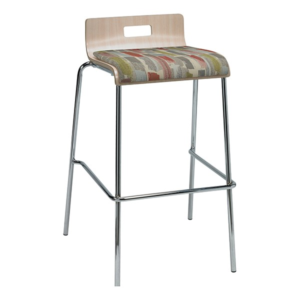 Bentwood Stool w/ Low Back & Upholstered Seat - Natural Finish & Dark Latte Fabric