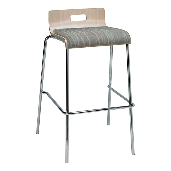 Bentwood Stool w/ Low Back & Upholstered Seat - Natural Finish & Pecan Fabric