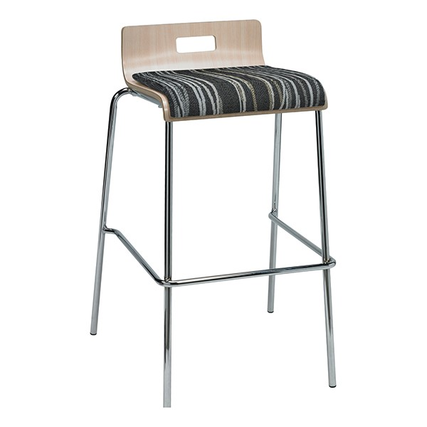 Bentwood Stool w/ Low Back & Upholstered Seat - Natural Finish & Peppercorn Fabric