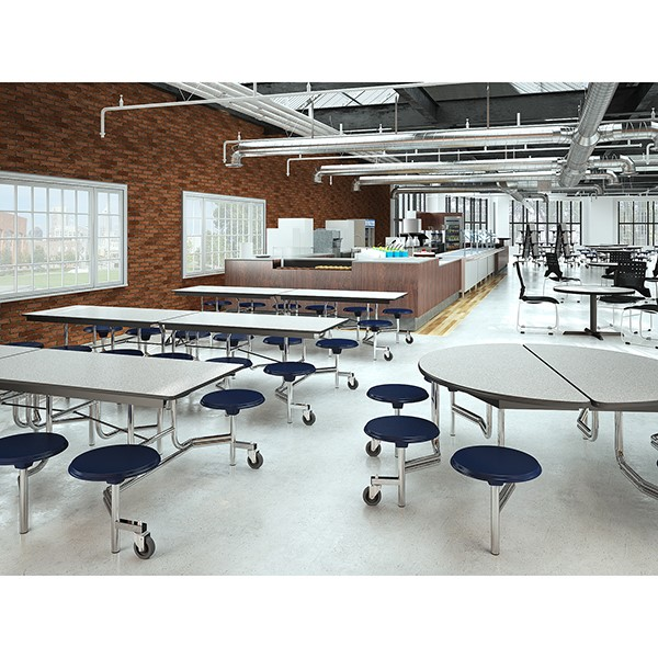 """Mobile Stool Cafeteria Table w/ Particleboard Core and Chrome Frame - 8 Stools (30"""" W x 8' L)"""