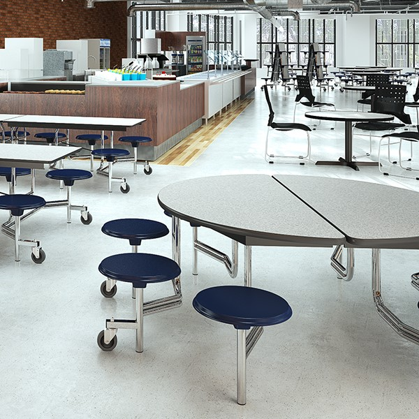 Round Mobile Stool Cafeteria Table w/ Particleboard Core
