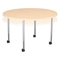 Round Mobile Collaborative Table w/ Laminate Top - Maple
