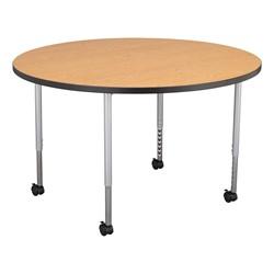 Structure Series Round Mobile Collaborative Table w/ Laminate Top - Oak Top w/ Black Edge & Silver Mist Legs