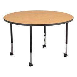 Round Mobile Collaborative Table w/ Laminate Top - Walnut